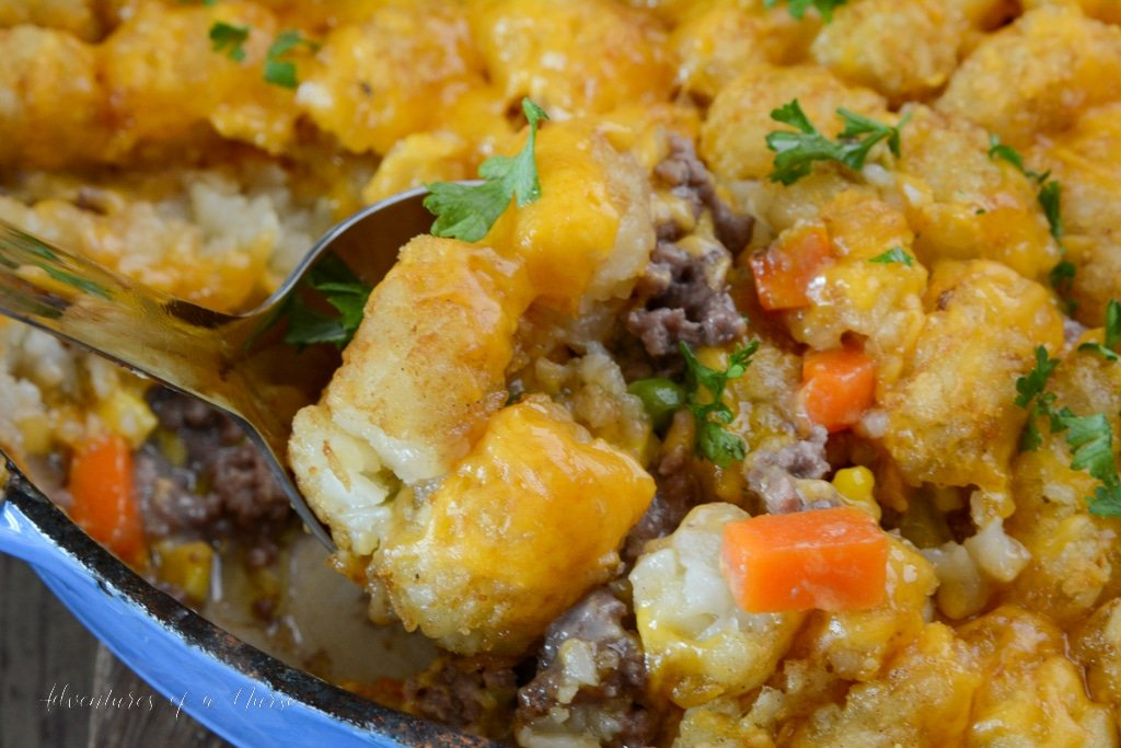 Tater Tot Casserole ready to serve