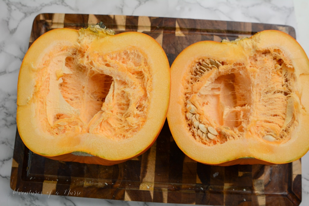 pumpkin split in half