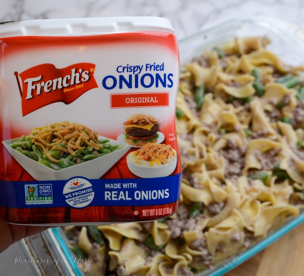 Crispy French onions on top of casserole