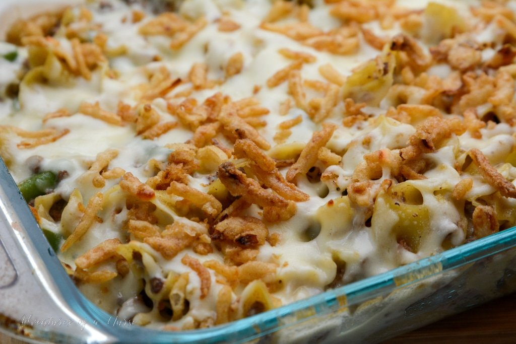 French Onion Casserole out of the oven