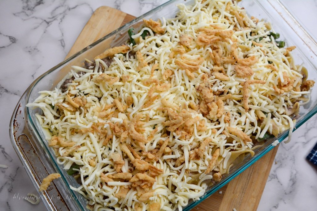 easy french onion casserole ready for oven