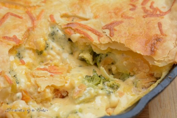 Chicken Broccoli and Cheddar Pot Pie