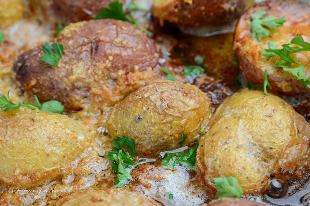 Parmesan Crusted Potatoes in pan