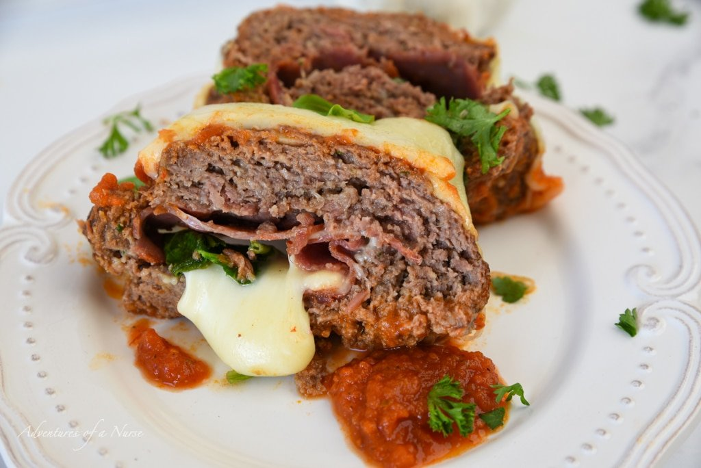 Italian Meatloaf slice on plate