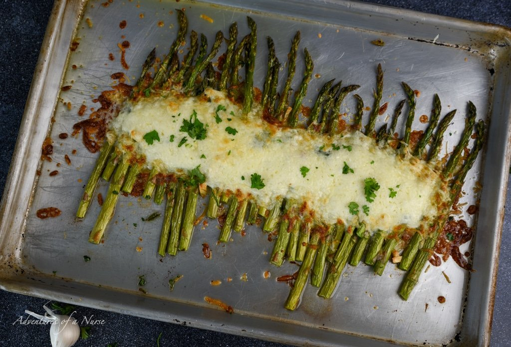 Melted Cheese on Asparagus