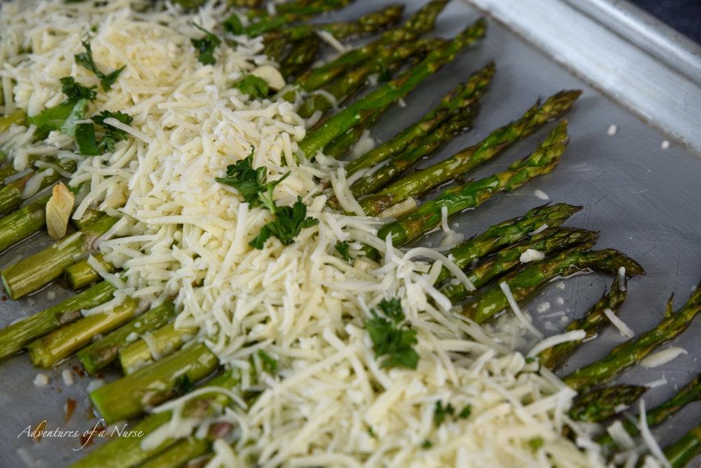 Parmesan and Cheese on Asparagus