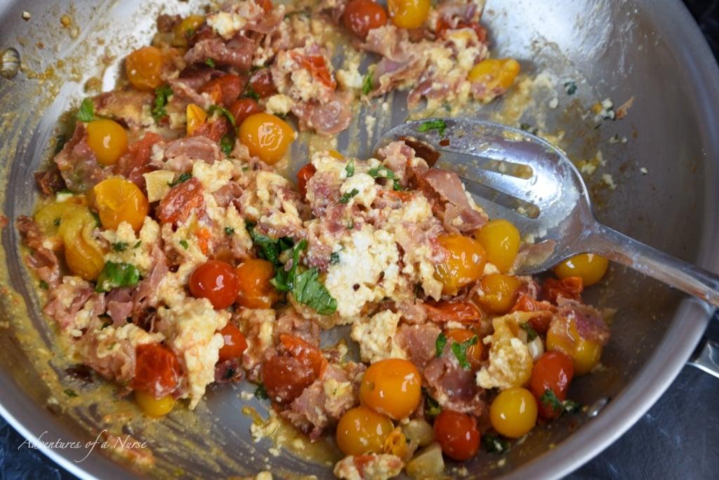 Stir feta and tomato mixture
