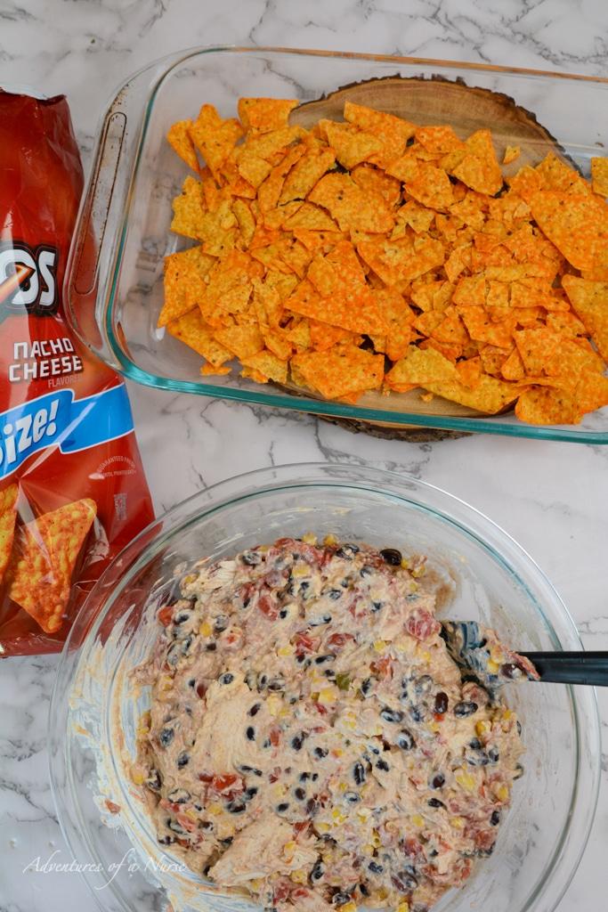 layer of doritos on pan