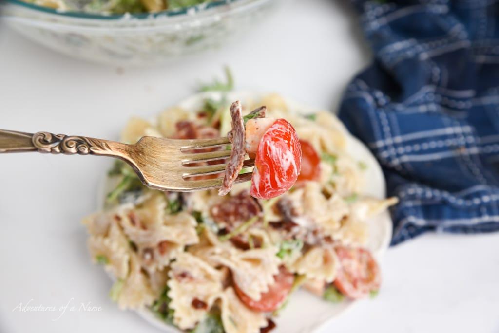 BLT Pasta Salad on fork