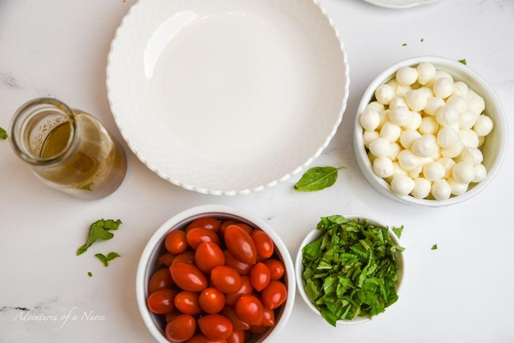 Fresh mozzarella and cherry tomatoes