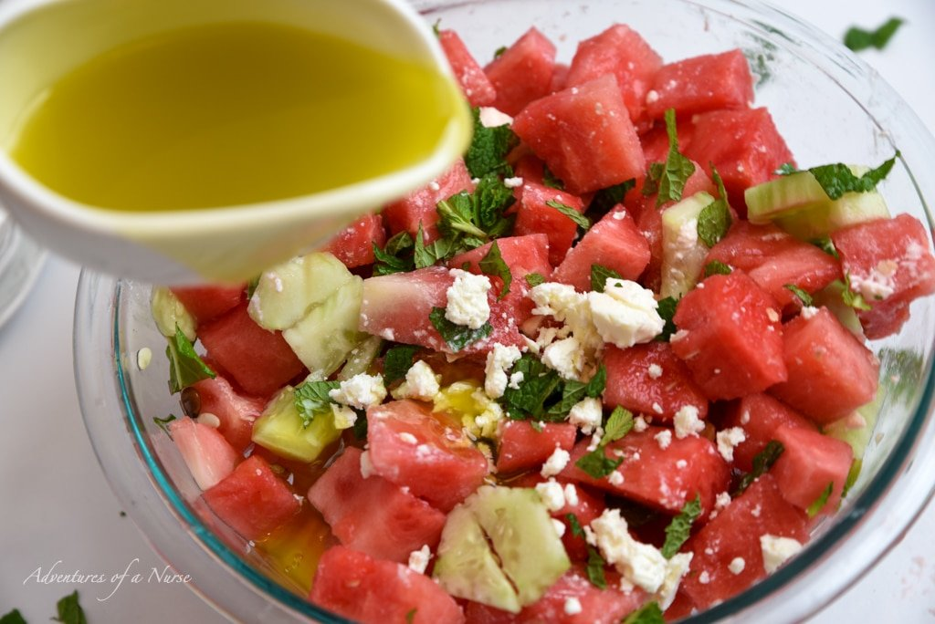 Lime Dressing on watermelon salad