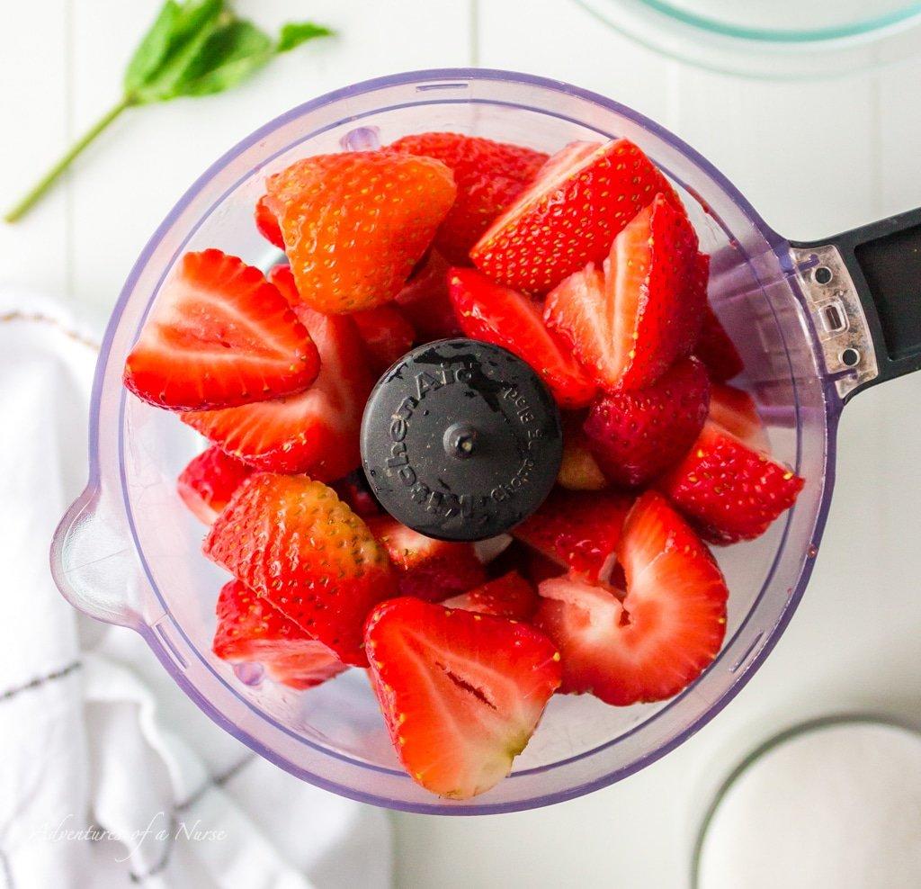 Strawberries in food processor