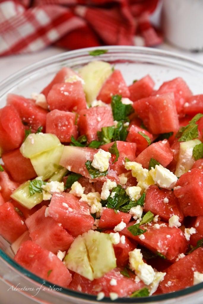 Watermelon and fresh Mint Salad