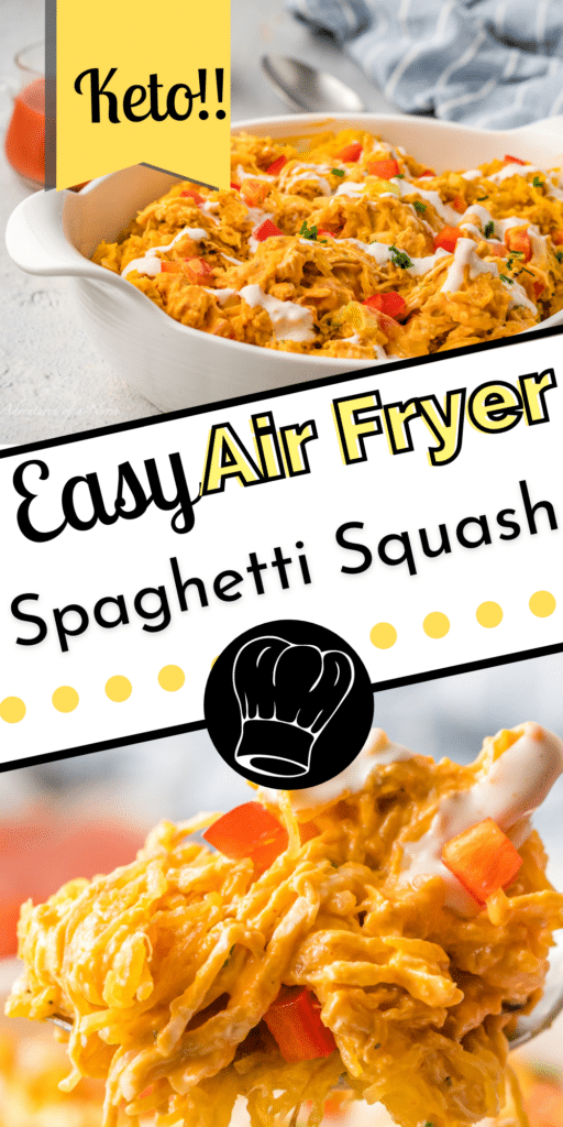 Air Fryer Buffalo Chicken Spaghetti Squash