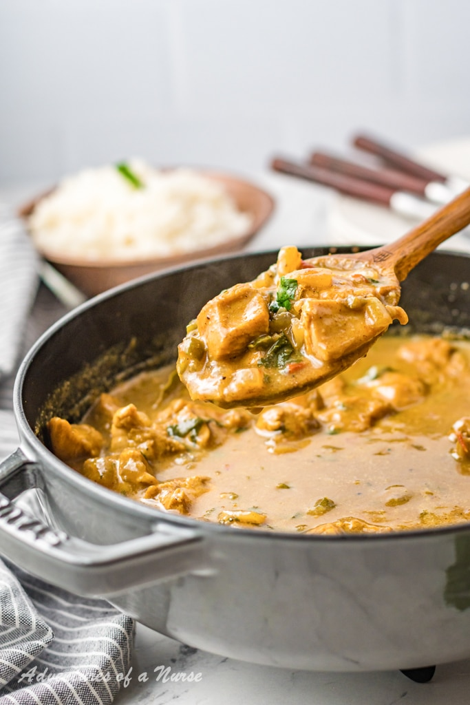 Curry Chicken on spoon