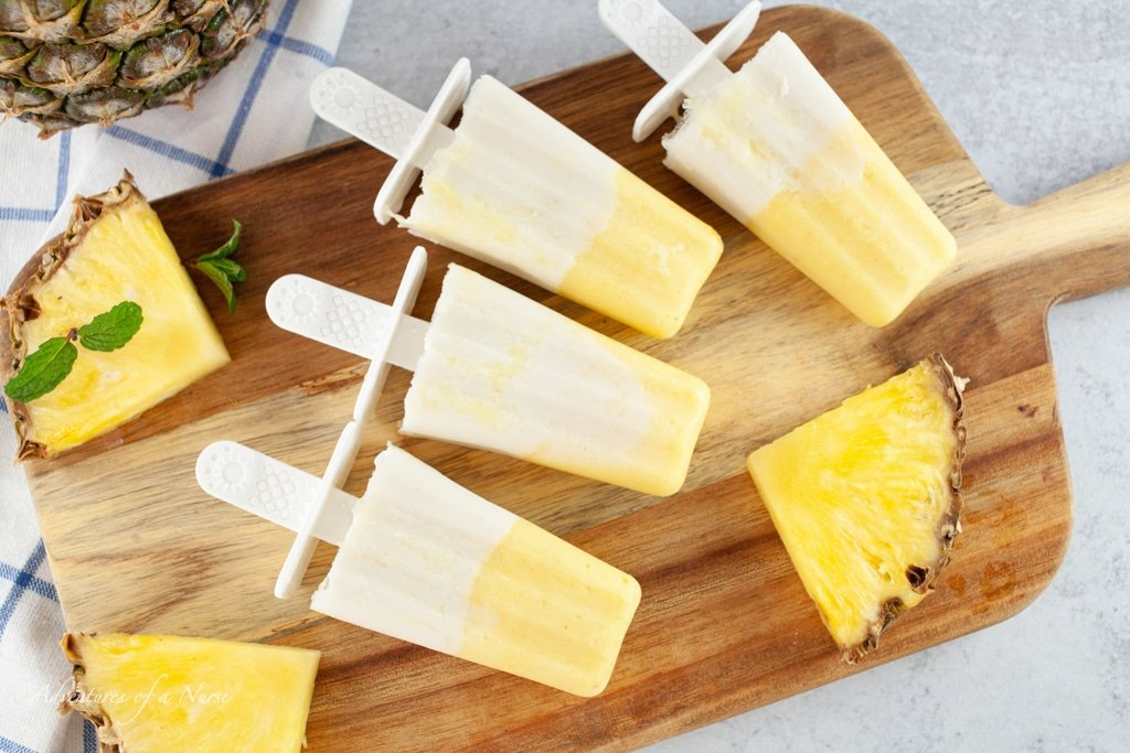 Pina Colada Popsicles with Pineapple