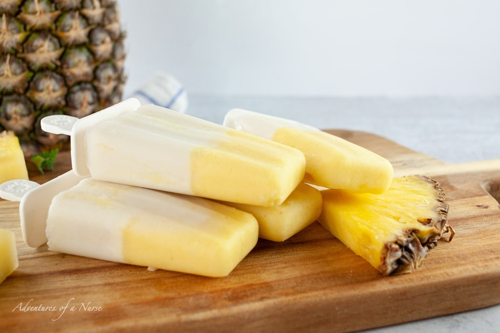 Pineapple and Pina colada popsicles