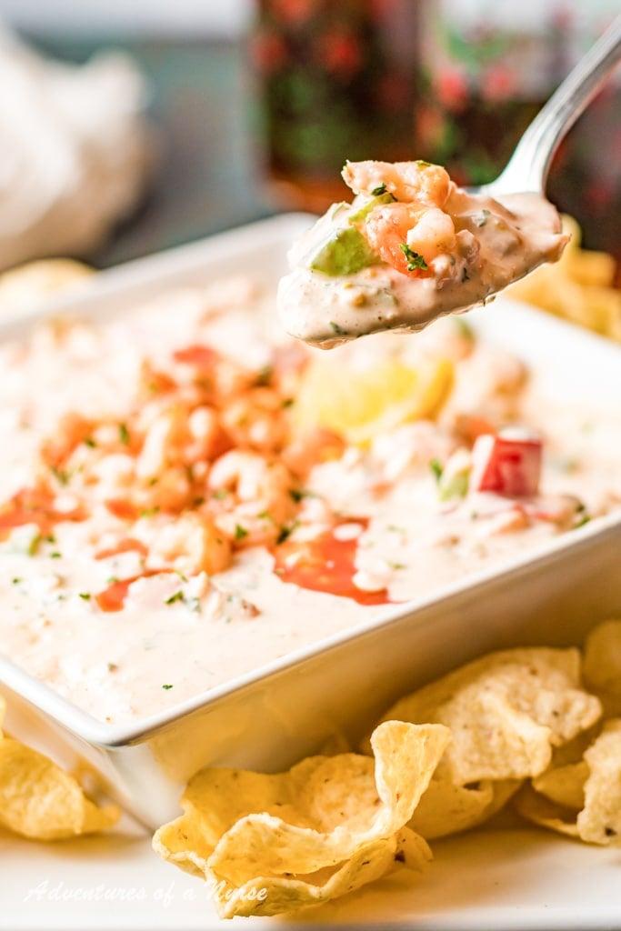 Spicy Shrimp Dip on spoon