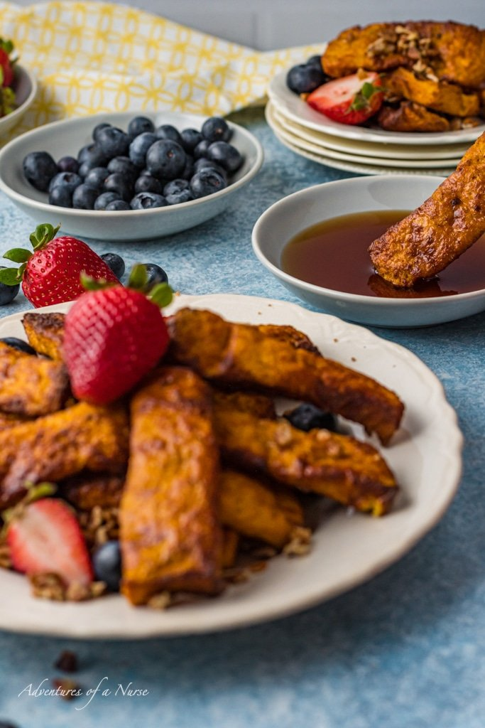 French Toast Strips air fryer on plate