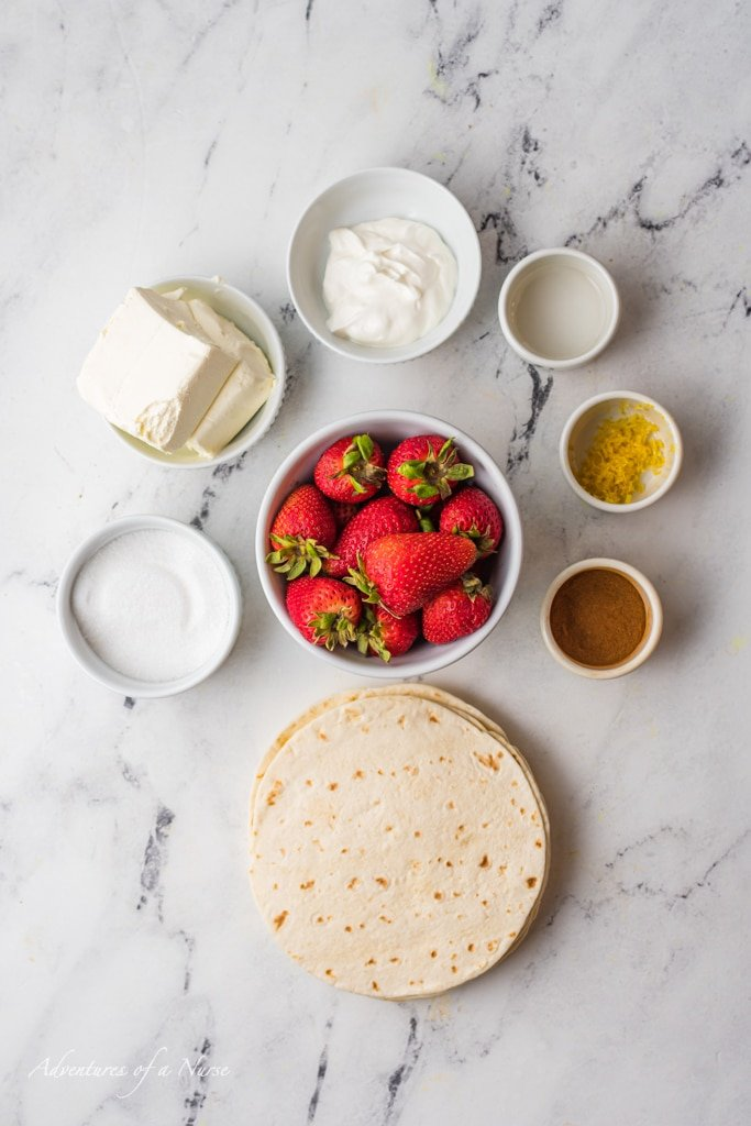 Ingredients for Air Fryer Strawberry Chimichangas