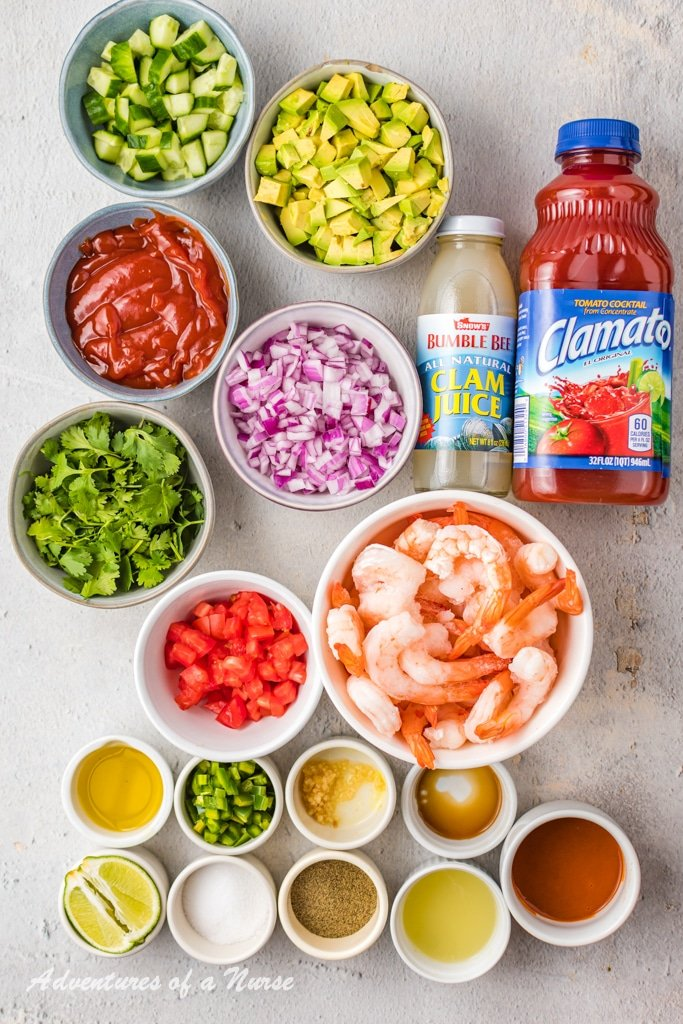 Ingredients for Mexican Shrimp Cocktail
