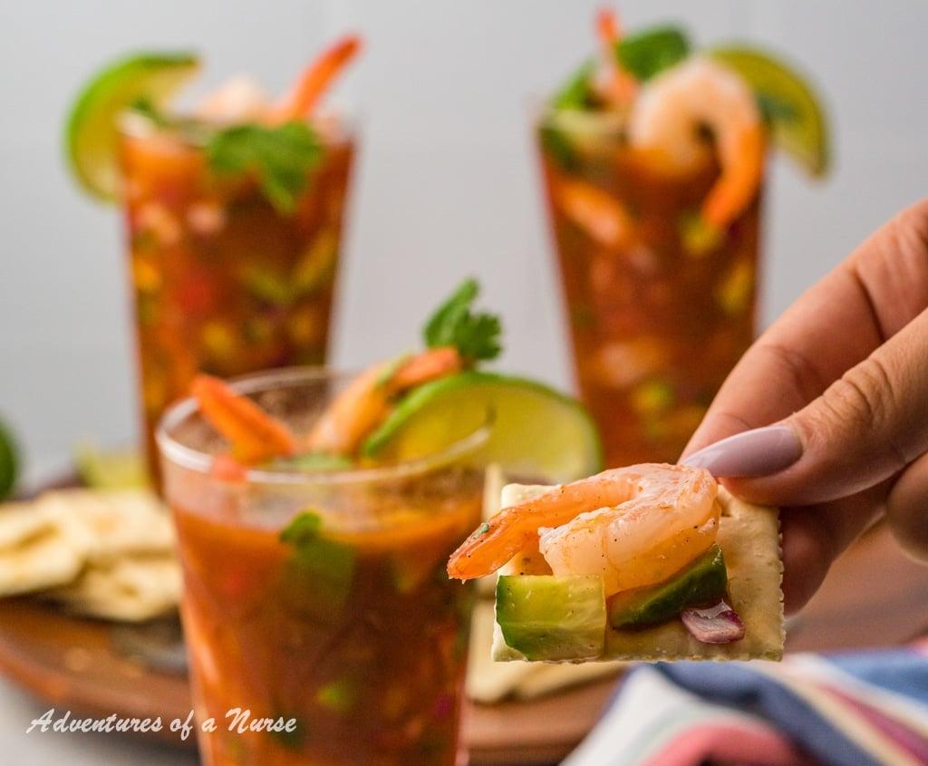 Shrimp Cocktail on Cracker