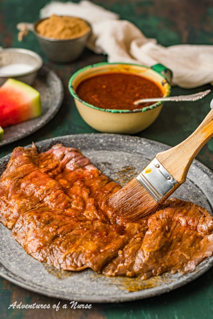 Watermelon BBQ sauce on meat