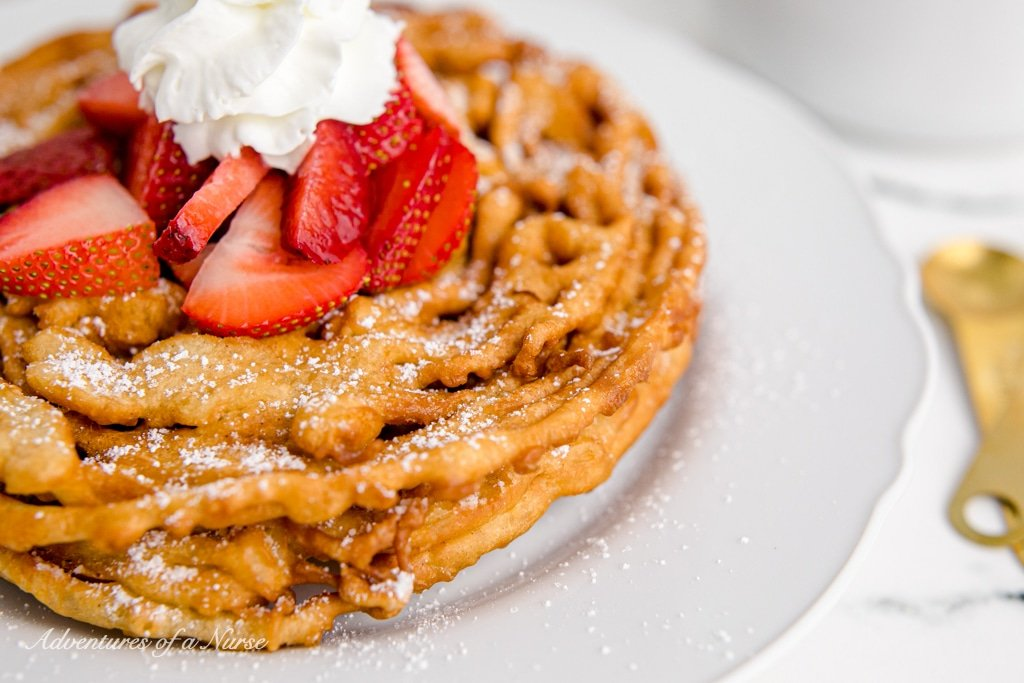 Funnel Cake with strawberries