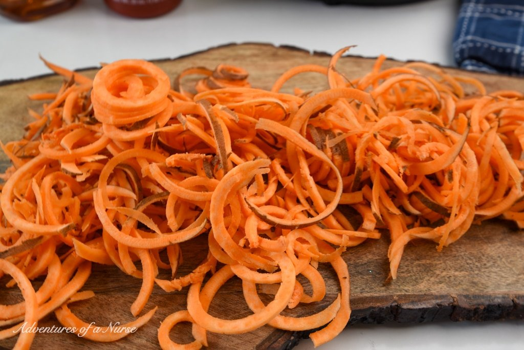 Sweet Potatoes cut for curly fries