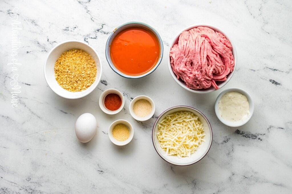 Ingredients for buffalo chicken meatballs