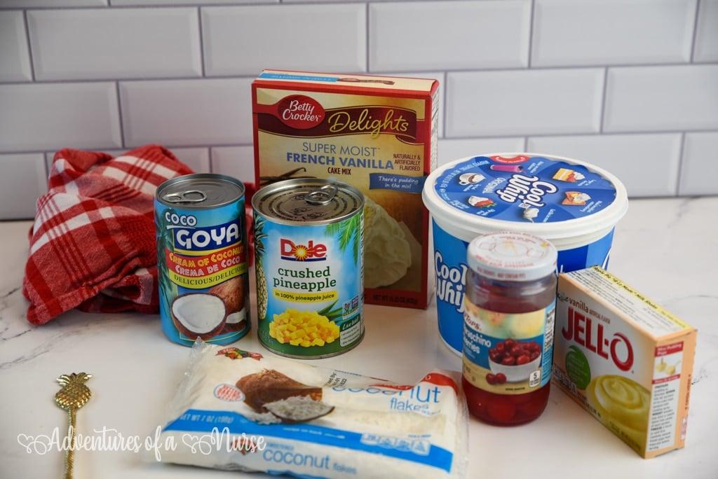 Ingredients for pineapple poke cake