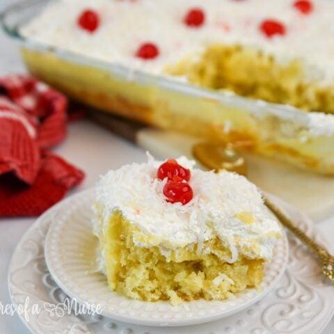 Pina colada cake plated